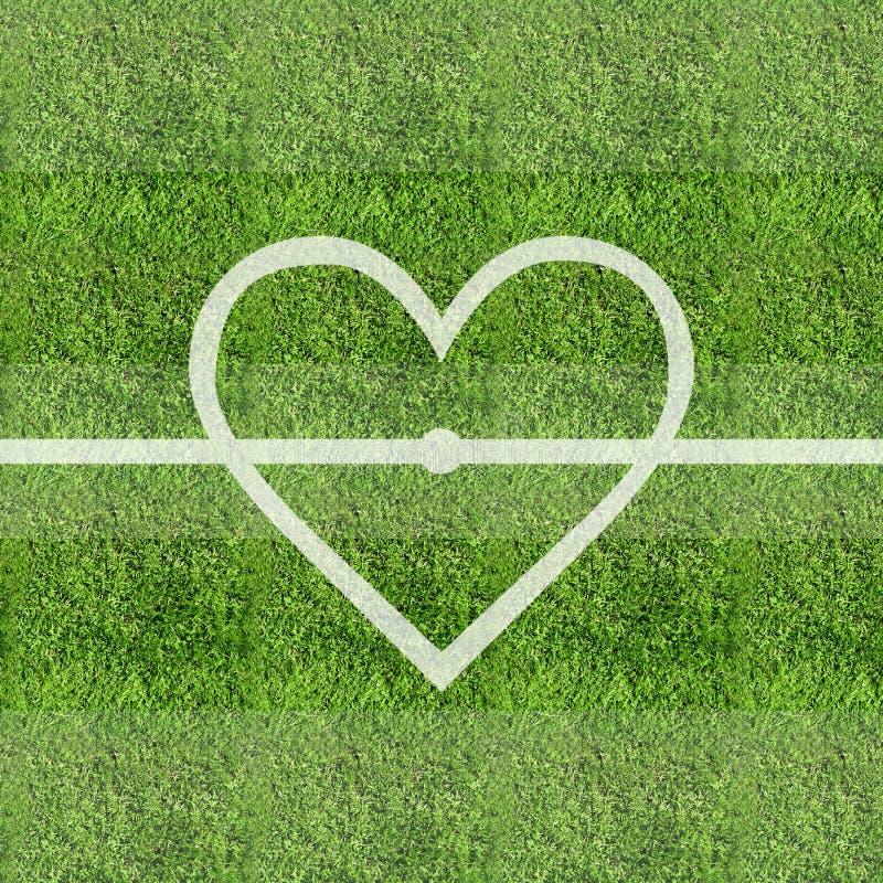 Love Soccer Grass Field Background Stock Photo
