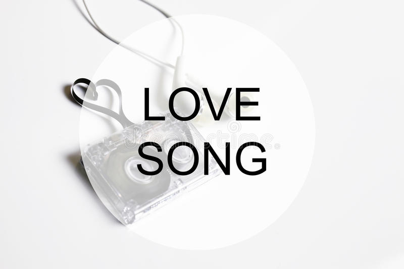 Love song background om audio cassette tape shape heart royalty free stock photos
