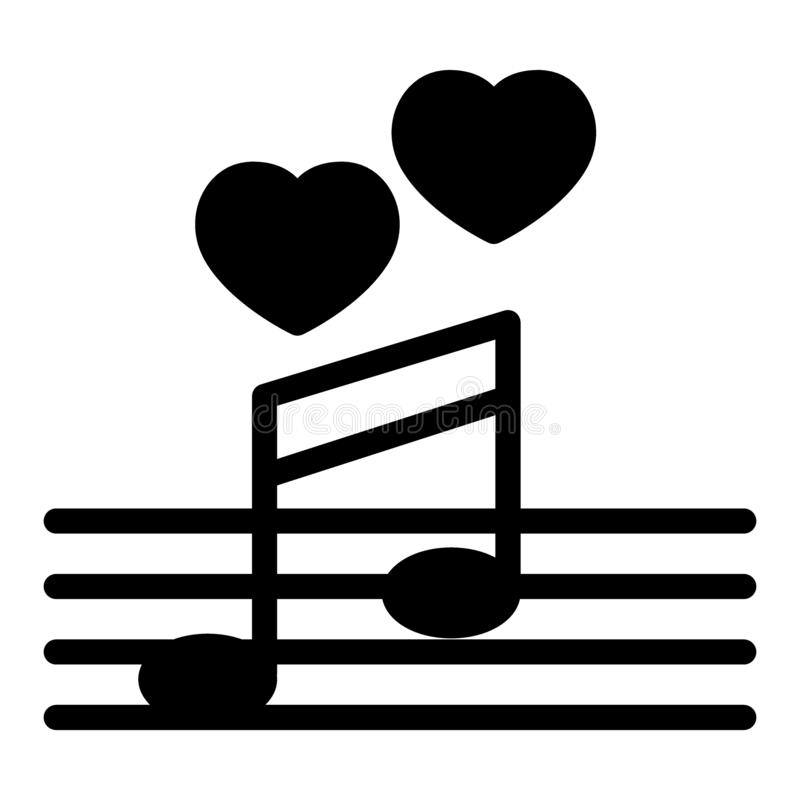 Love song solid icon. Music notes with heart vector illustration isolated on white. Serenade glyph style design royalty free illustration
