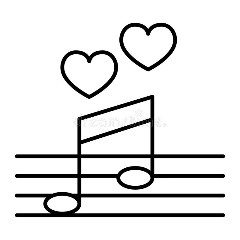 Love song thin line icon. Music notes with heart vector illustration isolated on white. Serenade outline style design vector illustration