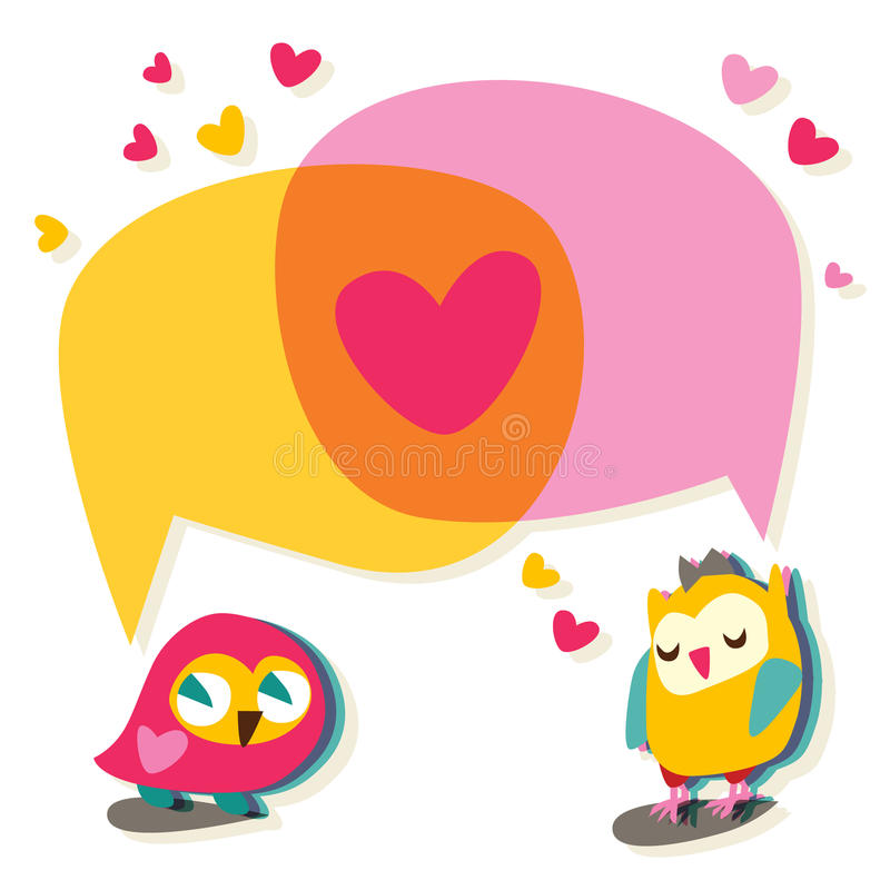 Love speech bubble with cute owl. royalty free illustration