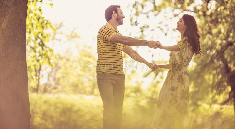 Love in the spring. Couple in nature stock image