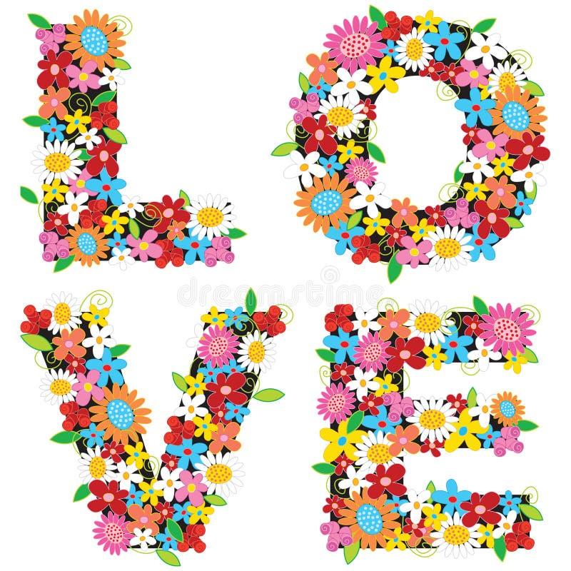 LOVE spring flowers. Colorful LOVE spring flowers - illustration vector illustration