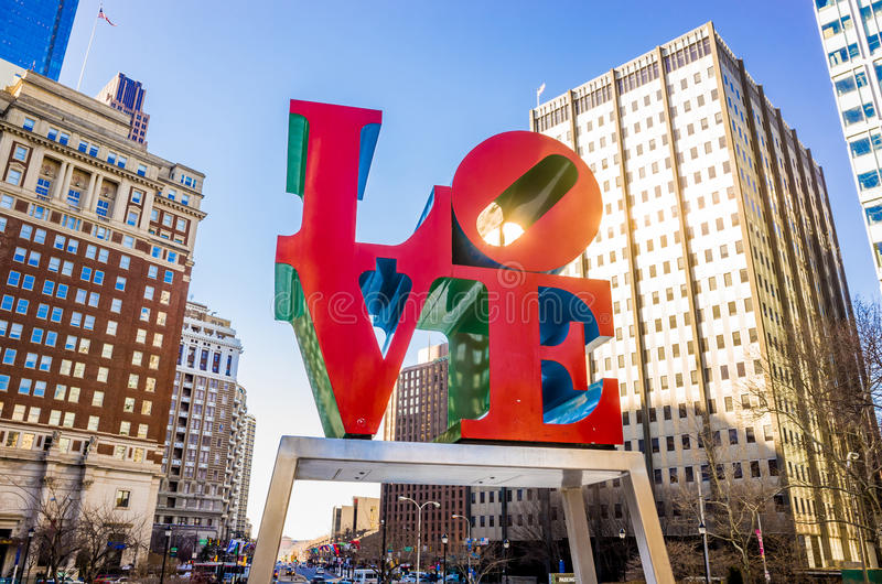 The Love statue in the Love Park royalty free stock photography