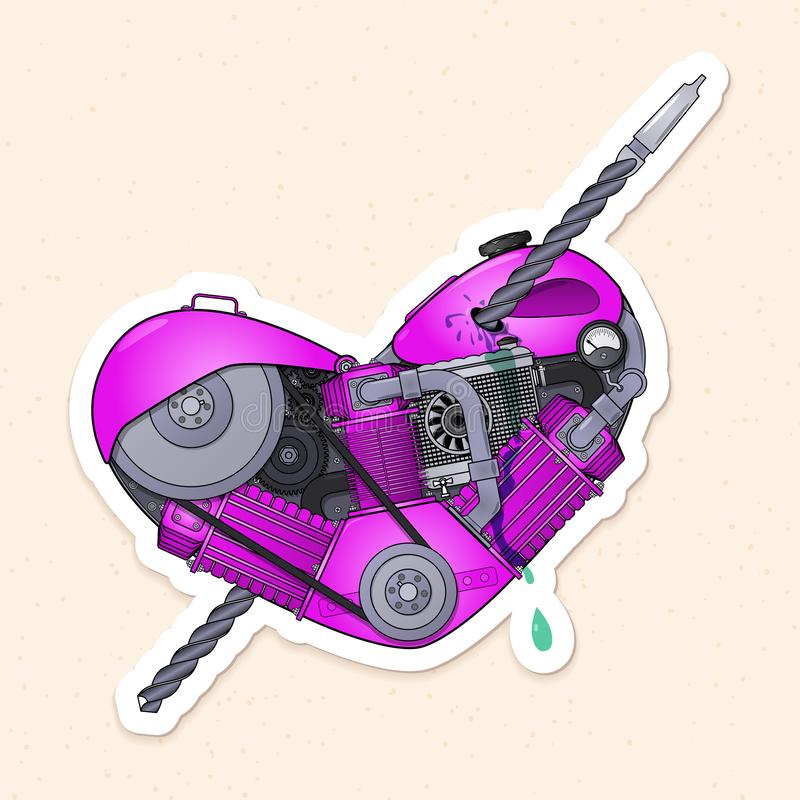 Love. Steampunk sticker for messenger. Motor heart pierced with a drill. Vector royalty free illustration