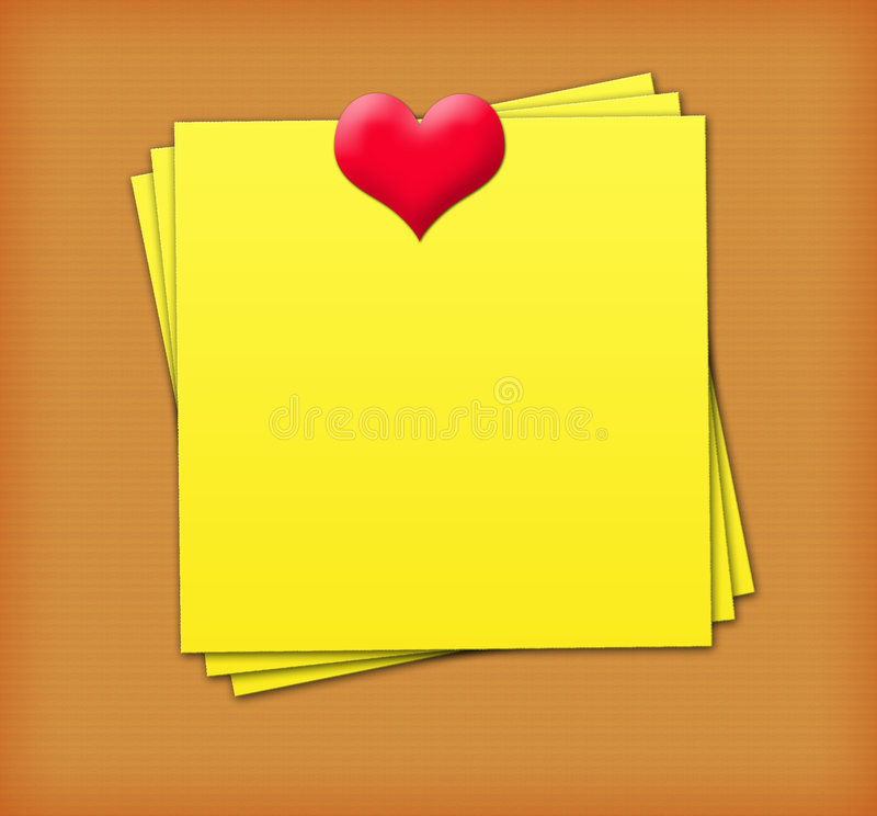 Love Sticky Notes. Yellow Sticky Notes with heart stock illustration