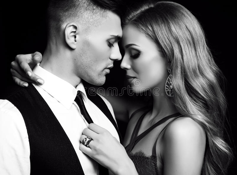 Love story. beatiful couple. gorgeous blond woman and handsome man royalty free stock image