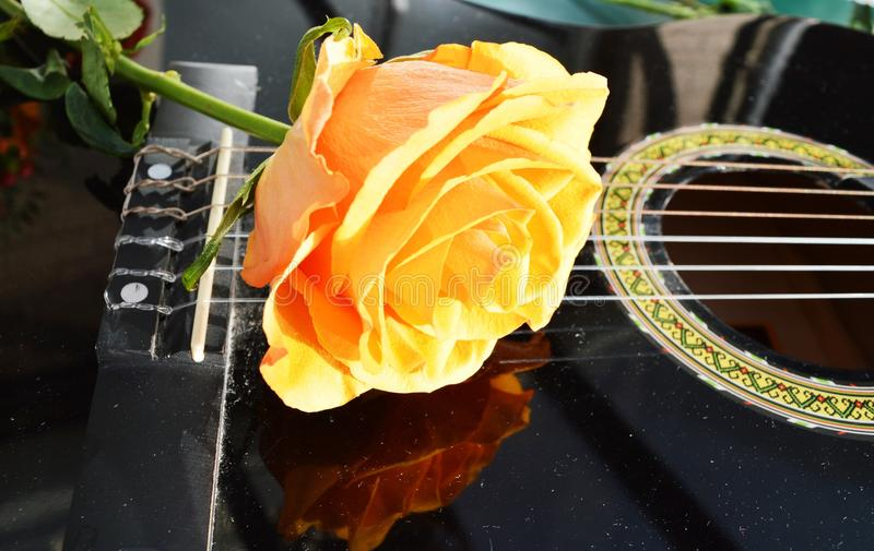 Love story. A beautiful yellow rose on the strings of a guitar, evoking a love story stock photo