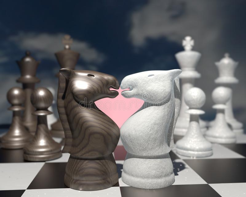 Love story on a Chessboard. Two horses with a a pink heart. stock image