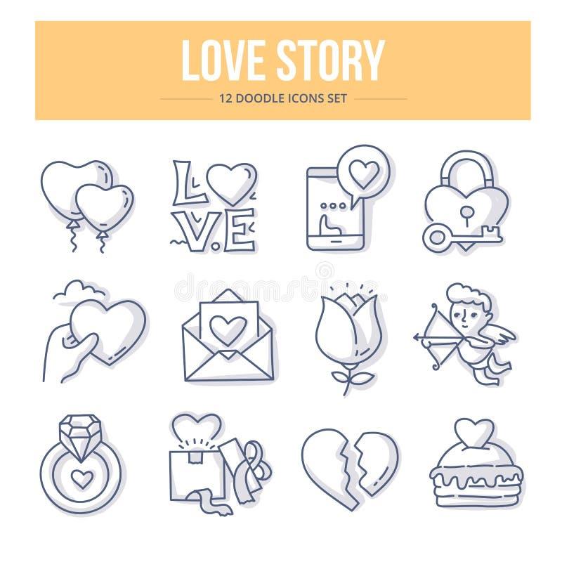 Love Story Doodle pojęcie royalty ilustracja