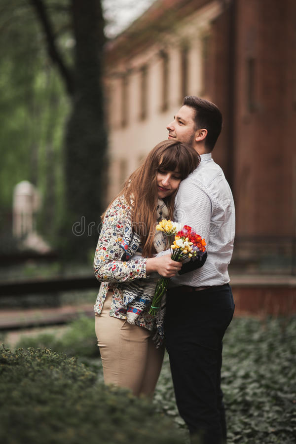 Love story of happy couple in Krakow.  royalty free stock photography