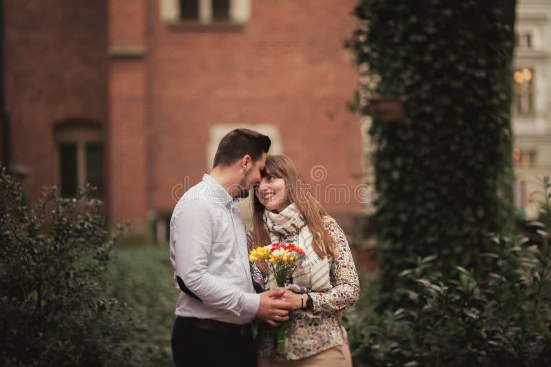 Love story of happy couple in Krakow.  stock photos