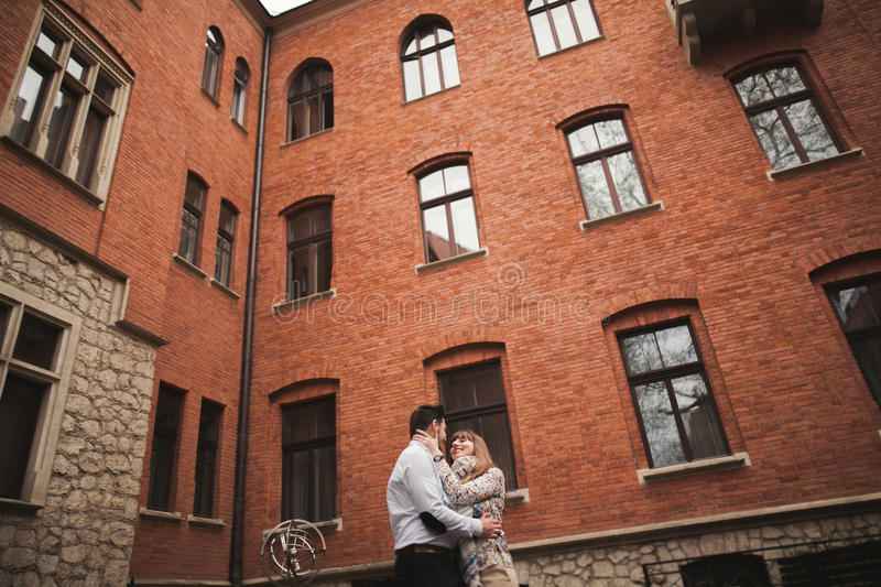 Love story of happy couple in Krakow.  stock images