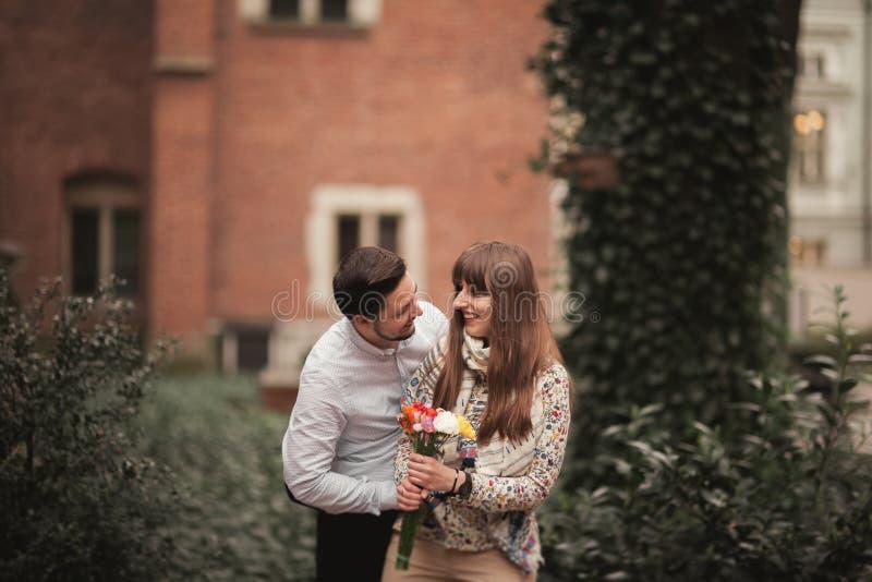 Love story of happy couple in Krakow.  stock photo