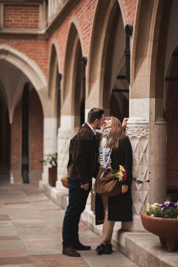 Love story of happy couple in Krakow.  stock image
