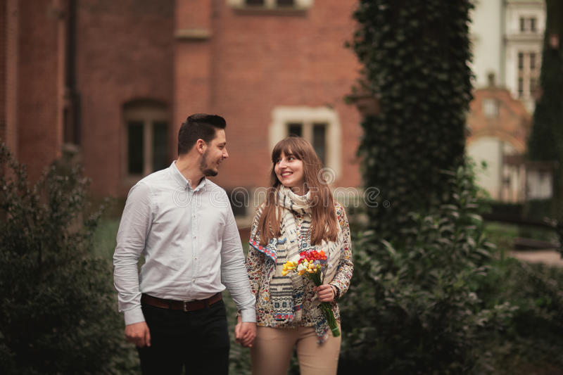 Love story of happy couple in Krakow stock images