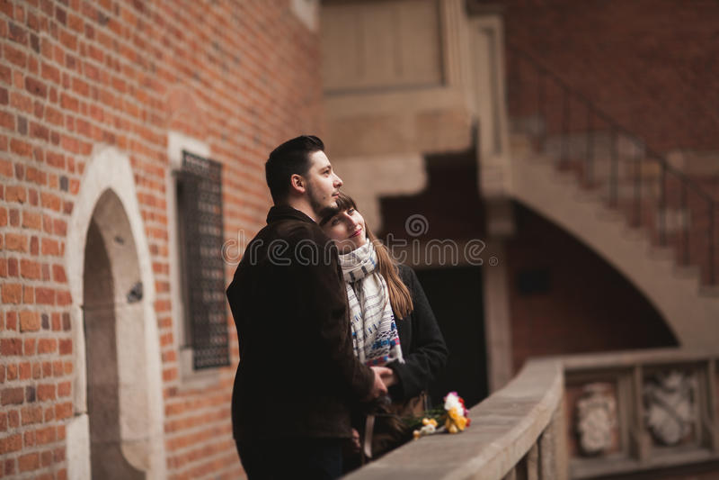 Love story of happy couple in Krakow stock photo