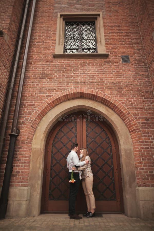 Love story of happy couple in Krakow stock image