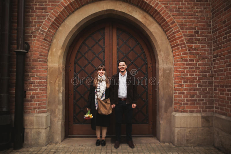 Love story of happy couple in Krakow royalty free stock photos