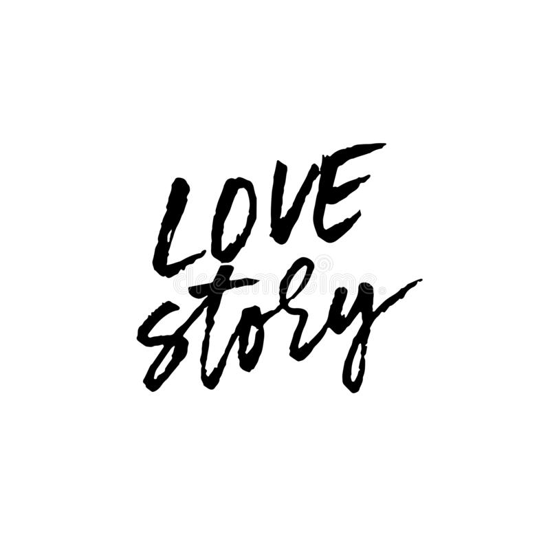 Love story. Ink hand drawn lettering. Modern dry brush typography. Grunge vector illustration. stock images