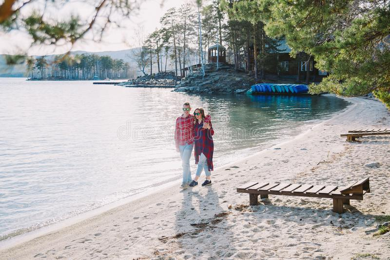 Love story on a lake. Beautiful romantic love story on a lake stock photos