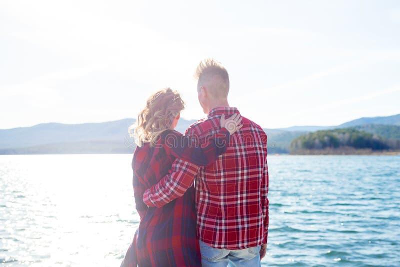 Love story on a lake. Beautiful romantic love story on a lake royalty free stock photo