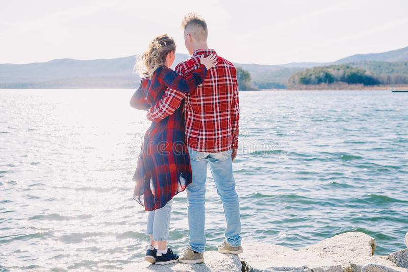 Love story on a lake. Beautiful romantic love story on a lake royalty free stock image