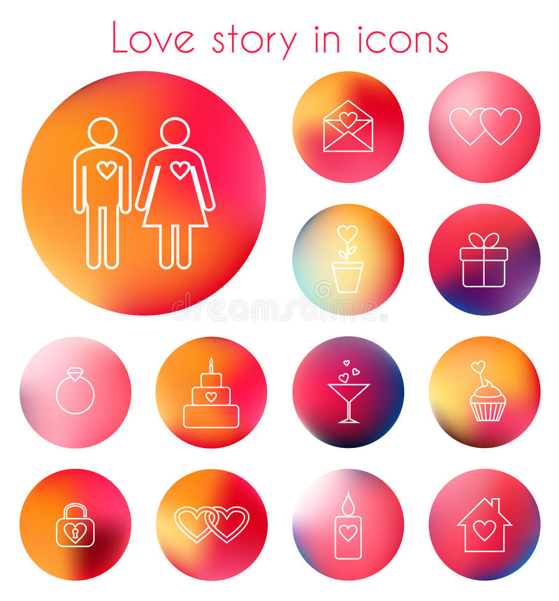 Love story in line icons. Set of vector line icons on blurred background for love story stock illustration
