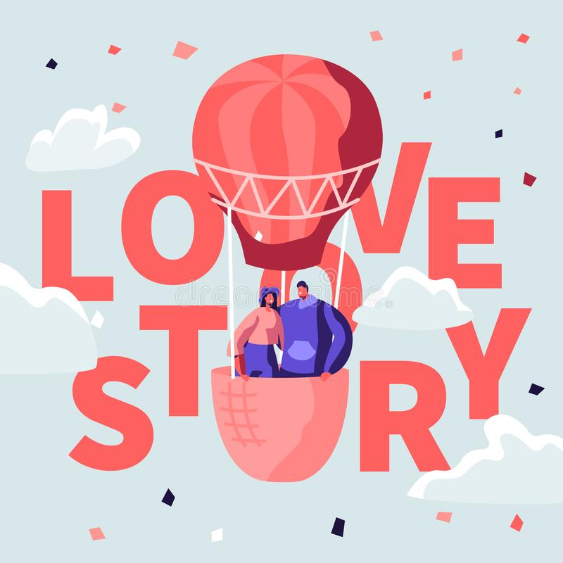 Love Story Poster with Loving Happy Couple of Young Man and Woman Stand in Basket of Air Balloon Flying in Cloudy Sky stock illustration