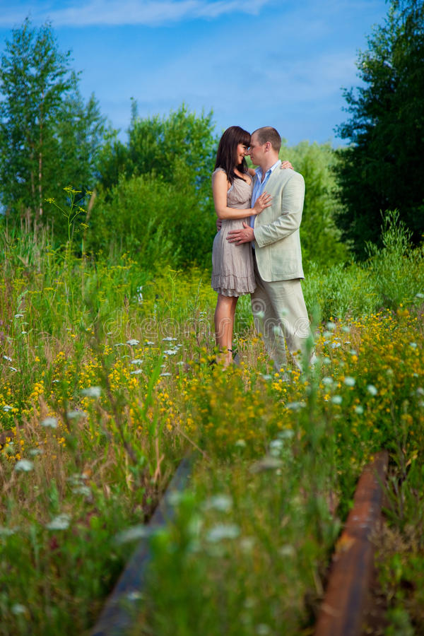 Download Love story on the railway stock image. Image of holding - 21329303