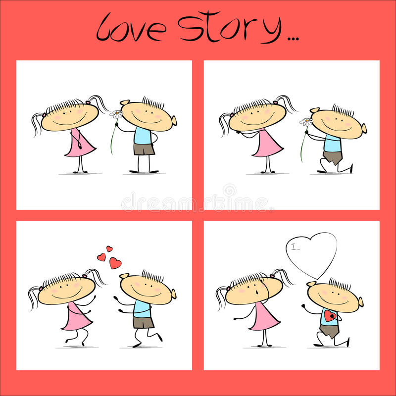 Love story, a set of illustrations for Valentine`s Day. Vector cartoon sketch stock illustration
