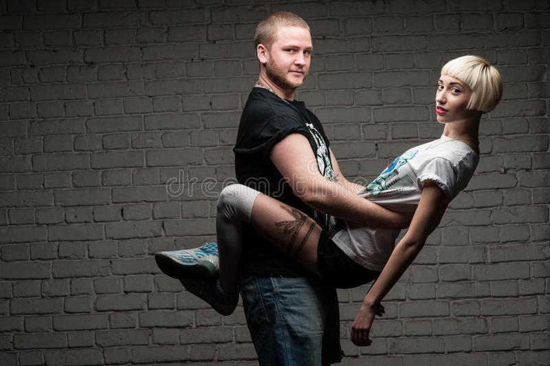 Love story set. Couple young people having fun stock photo