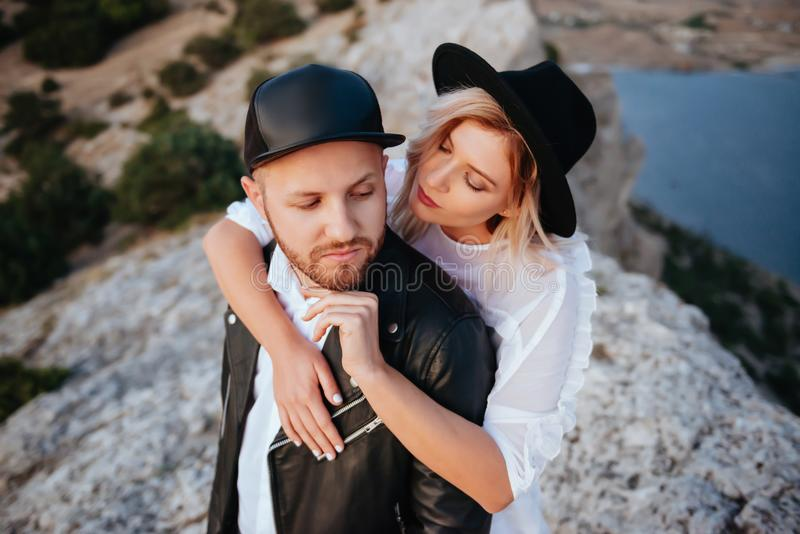 Love story on sunset stock photography