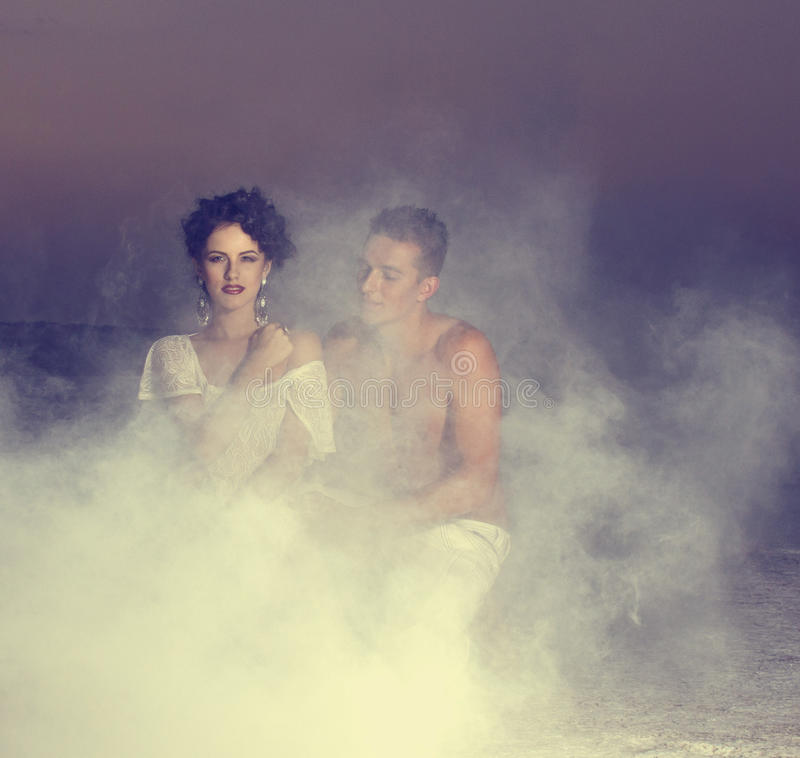 Love story of young beautiful couple. Love story of young beautiful couple, who walking together on the nature royalty free stock image