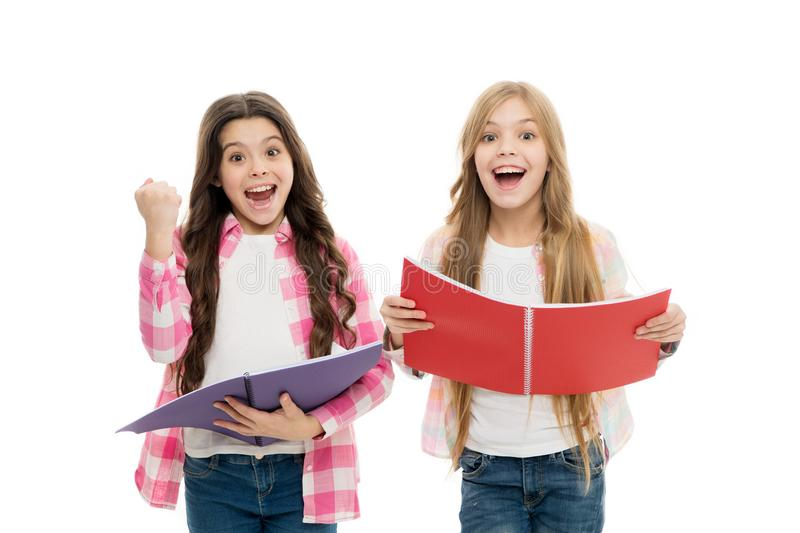 We love study. Studying is fun. Buy book for extra school course. Language courses for youth. Girls with school stock image