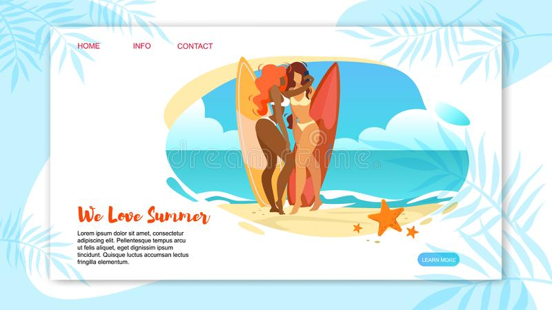 We Love Summer Horizontal Banner with Sexy Girls. In Bikini Posing and Making Selfie with Surfer Boards Standing at Beach Seaside. Summertime Leisure, Sport royalty free illustration