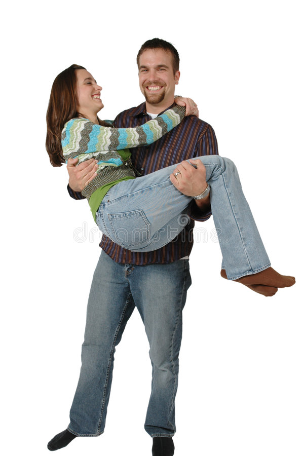 Love and Support. Happy Married couple. Man holds his wife in his arms for support royalty free stock images