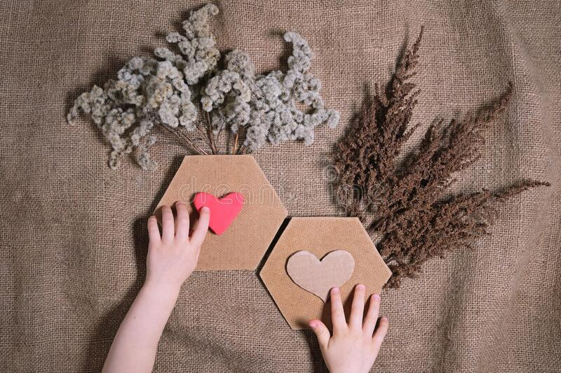 Love and sustainable living concept. Child`s hands putting crafted hearts on composition of dried flowers with two hexagon frame. On canvas background stock images