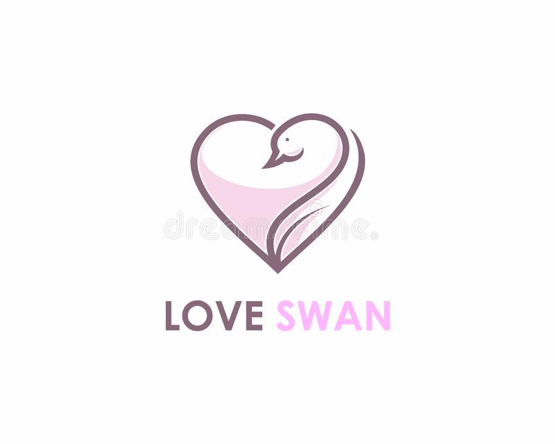 Love and Swan logo design concept vector illustration
