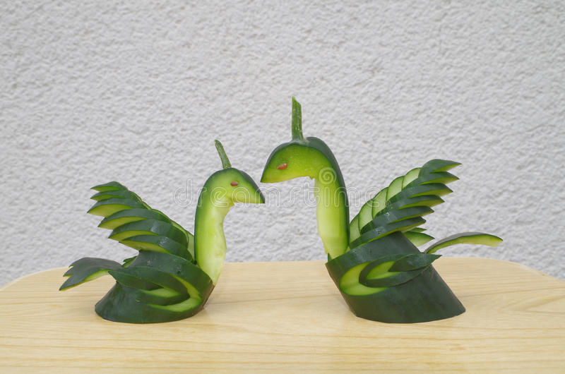 Love Swans made out of cucumber royalty free stock photography