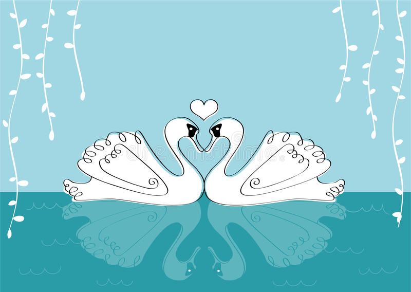 Love Swans with willow leaves vector illustration