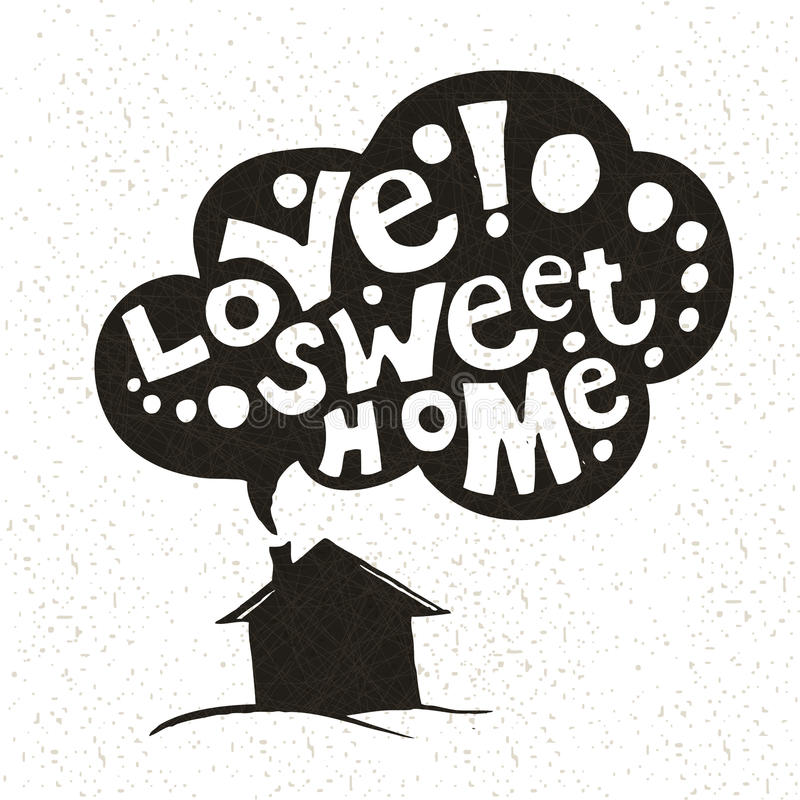 Love Sweet Home background. Hand drawing. House, roof, smoke. Lettering. royalty free illustration