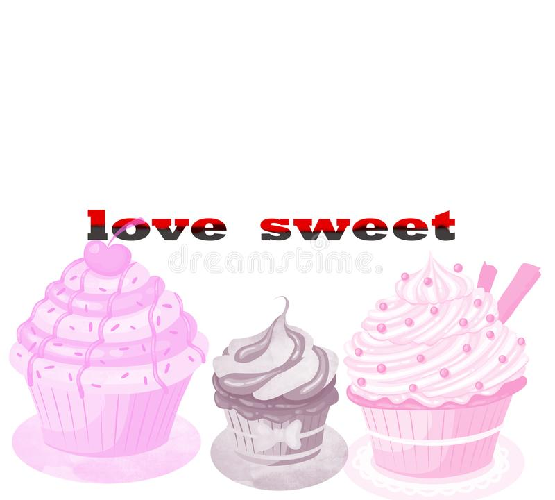 Love sweet. Sweet candies flat icons set in shape of circle with assorted chocolates isolated vector illustration. Cupcakes on a w vector illustration