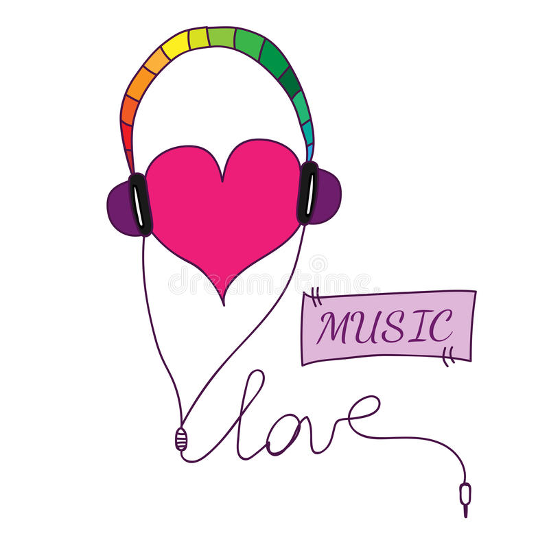 Love Symbol With Heart In Earpieces With Love And Music Text Stock