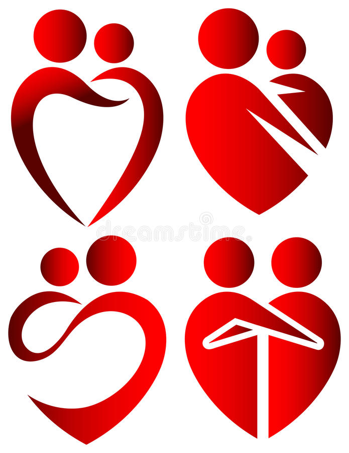 Love symbols. Illustrated isolated love heart symbols vector illustration