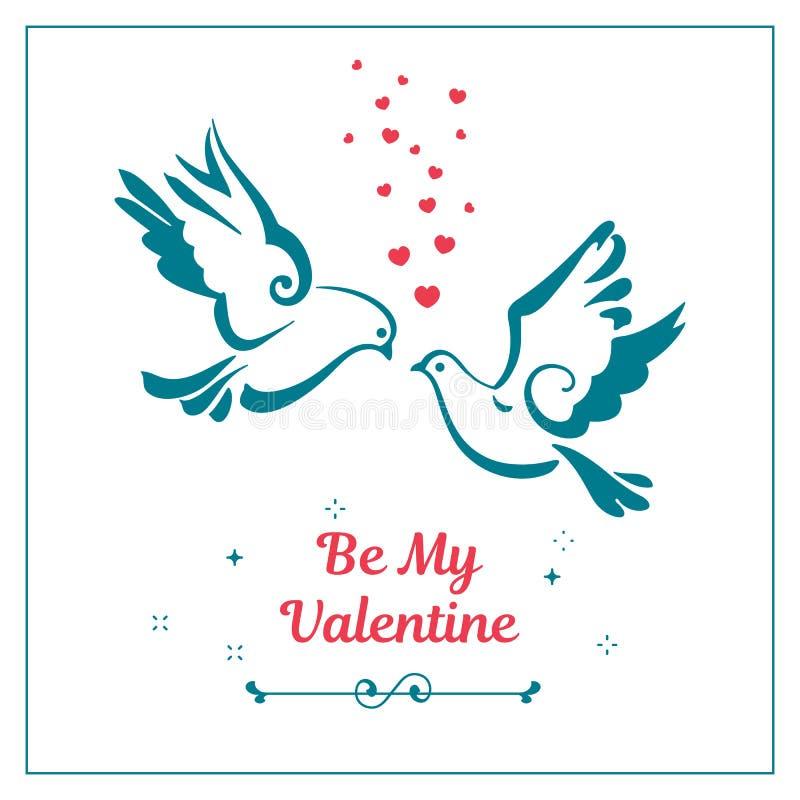 Love symbols, couple of pigeons. Valentines card. vector illustration