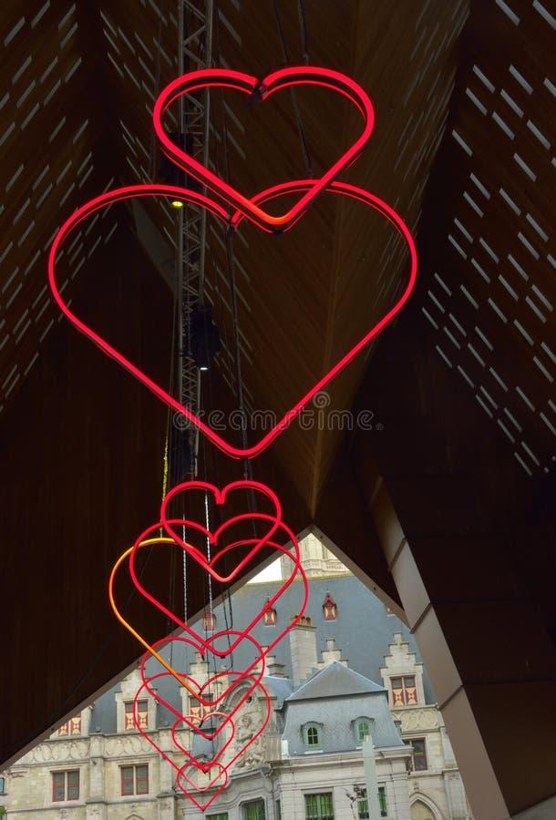 Love symbols: LED lighting royalty free stock image