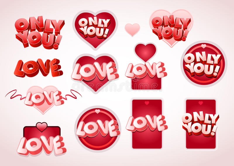Download Love tag set stock vector. Image of abstract, heart, isolated - 22636358