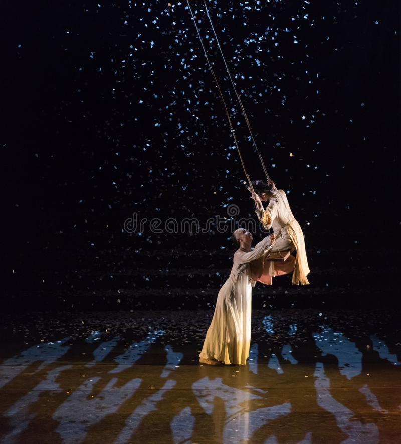 Love talk under swing 1-Snowy night-Act 4:Profound friendship royalty free stock photos
