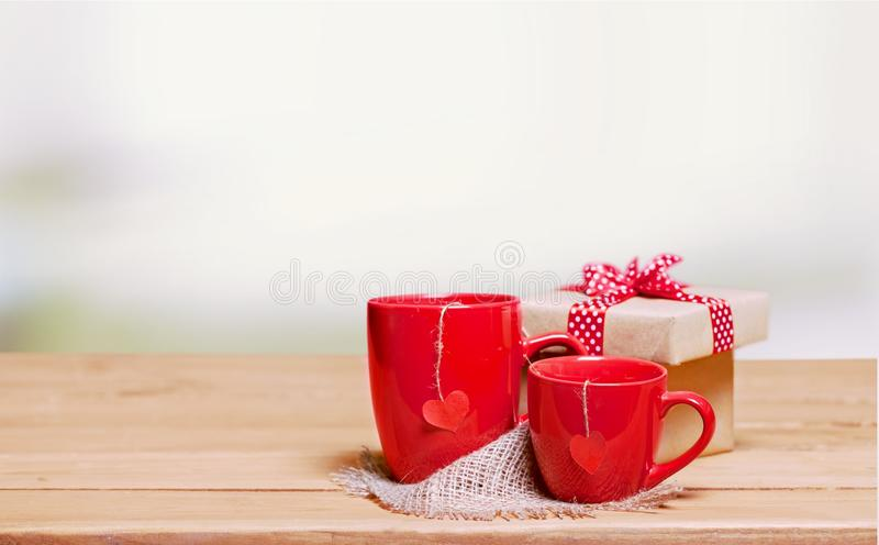 Love tea. Heart decoration day concept cup rustic stock image